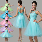 A-Line XMAS Sexy Short Beads Crystal Bridesmaid Gown Homecoming Prom Party Dress