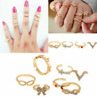 7PCS Set Rings Urban Gold stack Crystal Cute Above Knuckle Ring Band Midi Ring