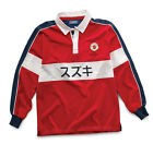 Genuine Suzuki Long Sleeved Men's Motor Co Rugby Shirt Red 100% Cotton New