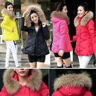 NEW Women Winter Thick A Style Warm Real Duck Down Big Real Fur Collar Coat
