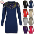 WOMENS LADIES SEQUIN LONG SLEEVE JUMPER DRESS MINI KNITTED STRETCHY BODYCON TOP