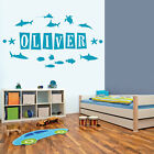 Personalised Name Wall Art Sticker - Ocean Theme, Shark, Fish, Dolphin, Sea S...