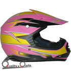 Leopard LEO-X16 Youth Children Kids Motorbike  Motorcross MX Helmet Yellow/Pink