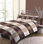 Becky Checked Squares Chocolate Brown Cream Beige Duvet Cover Quilt Set