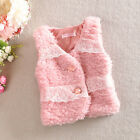 Baby Girls Princess Lace Ruffles Plush Cardigan Vest Coat Warm Pink White 2~6Y
