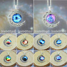 Jewelry Choker Necklace Glass Galaxy Lovely Pendant Silver Chain Moon Necklace