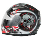 VCAN V158 MOTORCYCLE MOTORBIKE FULL FACE HELMET REAPER +OPTIONAL DARK VISOR