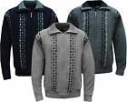New Mens Knitted Full Zip Lined Chenille Classic Cardigan Jumper Sweater  M-XXL