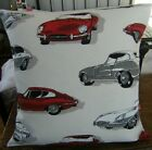 """Cushion Pillow Cover Red Grey White Cars Retro Pattern Fabric 16"""" x 16"""""""