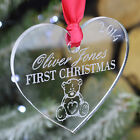 Personalised Baby First Christmas Tree Decoration Bauble Gifts Teddy Present C1