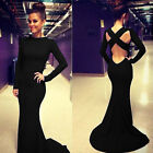 Celebrity Style Women's Sexy Cross Back Long Wedding Homecoming Ball Party Dress