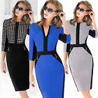 Celebrity Women Colorblock Bodycon Stretch Tunic Wear To Work Party Pencil Dress