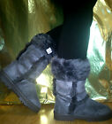 NEW LADIES GIRLS BOOTS GREY MID CALF SUEDE SNUG FUR SNOW BOOTS GRIP SOLE SIZES