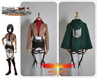 Hot Attack on Titan The Recon Corp Mikasa Ackerman With Cloak Cosplay Costume