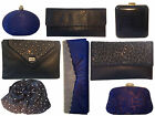 Ladies Blue Evening Bag crystal satin clutch box envelope leather studs navy