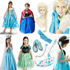 FROZEN ANNA ELSA PRINCESS DRESS GLOVES SHOES WIGS CROWN GIRL COSPLAY COSTUME SET
