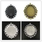 Antique Style Bronze Sillver Black Alloy Oval Cameo Setting (40*30mm) Pendant
