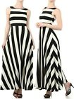 BOHEMIAN MAXI DRESS Striped Sleeveless Bold Tank Long Full Length Skirt S M