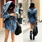 Womens Loose Denim Trench Coat Hoodie Jacket Hooded Jean Outerwear New Fashiion