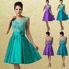 1950s Vintage Satin & Lace Formal Short Evening Gown Party Prom Bridesmaid Dress