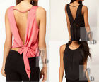 AU SELLER Womens Sexy Silky Backless Party Summer Tank Top Blouse Shirt T004