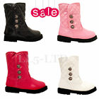Girls Infant  Children Winter Ankle  Patent  Velcro  Party  Boots Sz  3-7