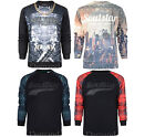 New Mens Sweatshirt Soul Star Top Pullover PU PVC Checked Crew Neck Printed