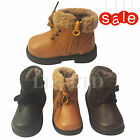 Boys Infant Kids Children Genuine Leather  Winter Zip Ankle Boots Size 3 -7