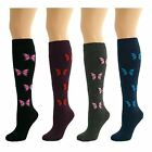 4 Pairs Womens Ladies Girls Knee High Long Butterfly Pattern Socks New