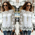 Celeb Womens Ladies Long Sleeve Embroidery Lace Top Casual Chiffon Shirt Blouse
