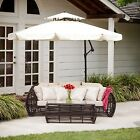 Outdoor Patio Cantilever Umbrella Canopy w/ Adjustable Lever and Base
