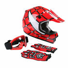 DOT Youth Kids Red Spider Net Motocross Off-Road Helmet Goggles+Gloves S/M/L/XL
