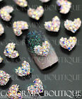 10pcs Nail Art Deco (8 x 7)mm Heart Alloy Jewelry AB Glitter Rhinestone #CA066