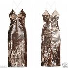 METALLIC ROSE BRONZE SEQUIN DISC STRAPPY MIDI PARTY EVENING BODYCON DRESS 8-16