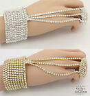 DIAMANTE CRYSTAL HAND CHAIN BRACELET PANJA RING **SILVER/GOLD**STUNNING**