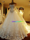 Stunning Custom Made Ivory/White Tulle Crystal Bridal Gown A-Line Wedding Dress