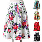 Flower Pattern Skirt Rockabilly Pin Up Swing Vintage Midi SUMMER 50s 60s Dresses
