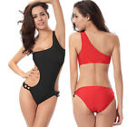 Women One Shoulder Push Up Padded Swimsuit Monokini Bikini Swimwear Swimsuit