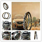 "New Style Winter Microfiber Leather Leopard Steering Wheel Cover 15"" 1PC"