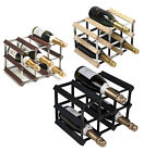 RTA 9 Bottle Traditional Wooden Wine Rack Natural / Dark / Black Ash Pine