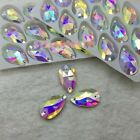 Teardrop Shape Sew On Glass AB Color 2 Holes Crystal Rhinestone Silver Flatback