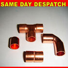 8mm Copper fittings coupler elbow tee end feed stop end new