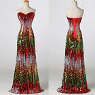RED Sequin Mermaid Long Prom Formal Evening Gown Party Bridesmaid Dress Plus 4 6