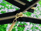 ☆No 8 HEAVY DUTY BLACK ZIP/METAL GOLD TEETH OPEN ENDED.Different Sizes(60-95cm)