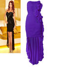 PURPLE AMY STRAPLESS SEQUIN RUFFLE HIGH LOW EVENING COCKTAIL DRESS UK 8-16