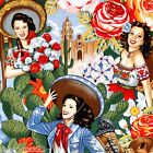 ½ MTRs / FQ / Swatch - Alexander Henry LAS SENORITAS Mexican Pin Up Girl Fabric
