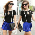 NEW Vintage Women Chiffon Short Sleeve Casual Printed T-shirt Top Blouse S M L