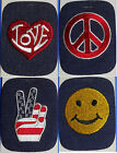 Singer Vintage Embroidered Iron-On Patch: Your Choice: Peace, Happy Face, Love
