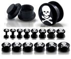 New Novelty Black Acrylic Screw fit Ear Tunnel Plug with Skull & Crossbones Logo