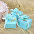 12/60PCS Square blue Tin Favor Boxes Bridal Shower Wedding Party Gift Candy Box